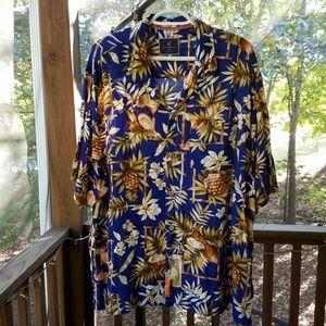 *Caribbean Joe Blue Aloha Print Shirt XL